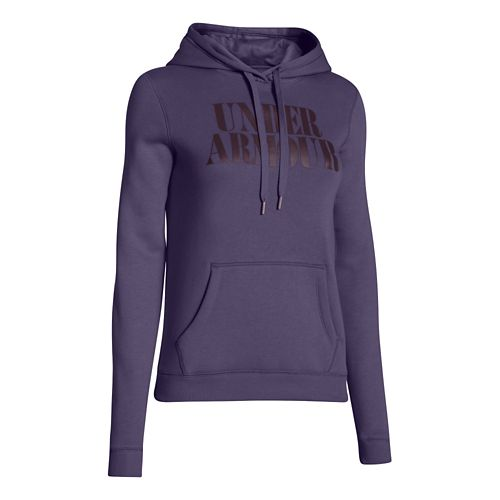 Womens Under Armour Undisputed Cotton Hoody Long Sleeve No Zip Technical Tops - Twilight Purple ...