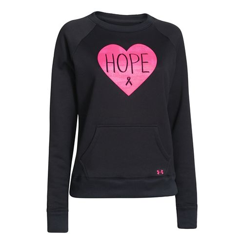 Womens Under Armour Hope Armour Fleece Crew Long Sleeve No Zip Technical Tops - Black/Cerise ...