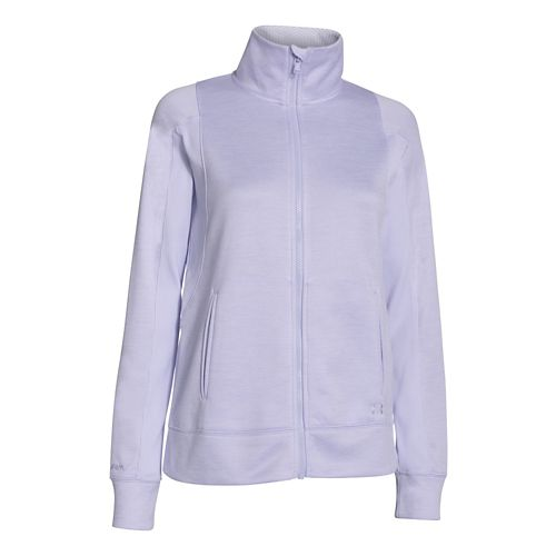 Womens Under Armour Infrared Full Zip Running Jackets - Lavender Ice L