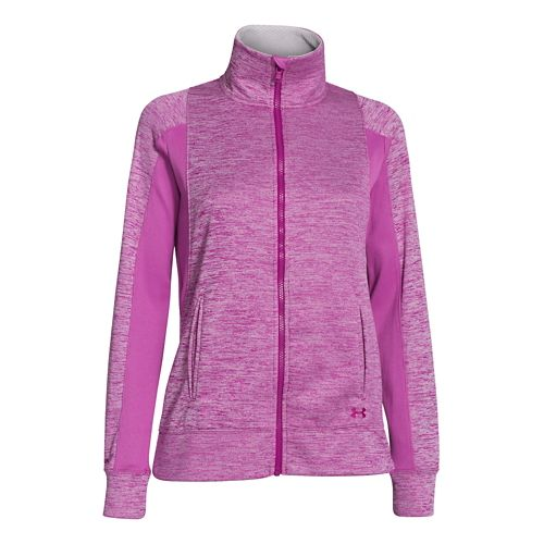 Womens Under Armour Infrared Full Zip Running Jackets - Magenta Shock XL