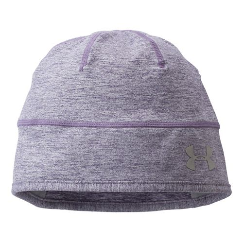 Womens Under Armour ColdGear Infared Run Reflective Beanie Headwear - Twilight Purple