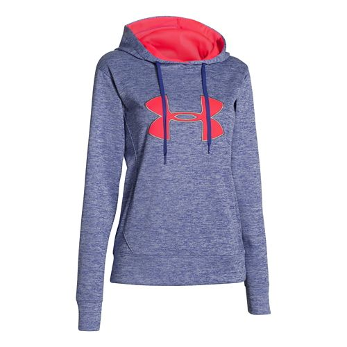 Womens Under Armour Big Logo Applique Twist Hoody Running Jackets - Siberian Iris XL