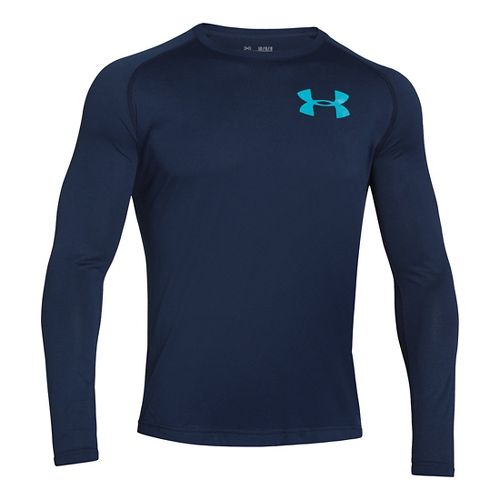 Mens Under Armour Core Back Graphic Long Sleeve No Zip Technical Tops - Academy/Alpine L ...