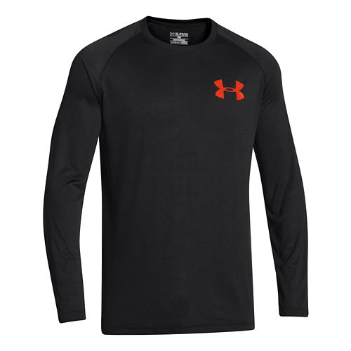 Mens Under Armour Core Back Graphic Long Sleeve No Zip Technical Tops - Black/Volcano L ...
