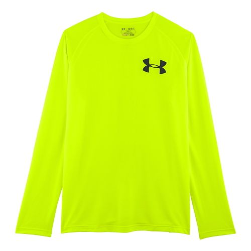 Mens Under Armour Core Back Graphic Long Sleeve No Zip Technical Tops - Hi-Viz Yellow/Black ...