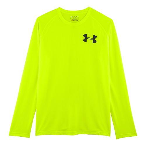 Mens Under Armour Core Back Graphic Long Sleeve No Zip Technical Tops - Hi-Viz Yellow/Black ...