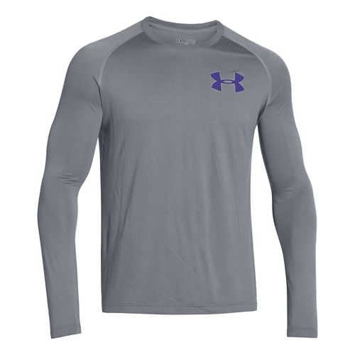 Mens Under Armour Core Back Graphic Long Sleeve No Zip Technical Tops - Steel/Pluto S ...