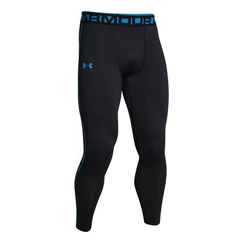Mens Under Armour Evo ColdGear Compression Legging Fitted Tights - Black/Electric Blue XL