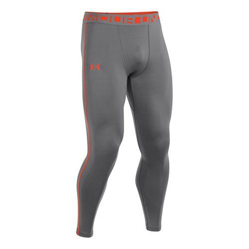 Mens Under Armour Evo ColdGear Compression Legging Fitted Tights - Graphite/Volcano M