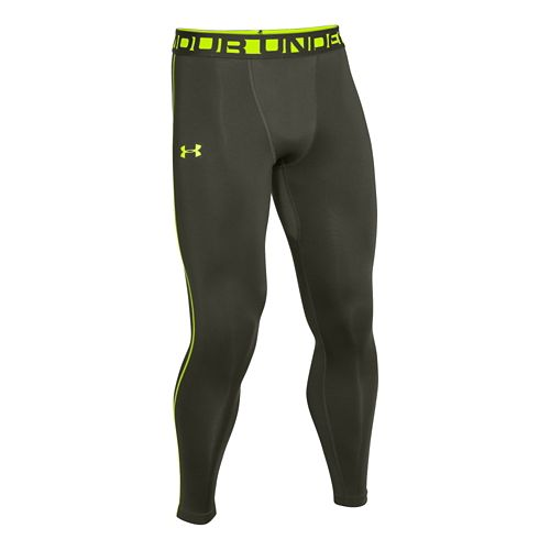 Mens Under Armour Evo ColdGear Compression Legging Fitted Tights - Rifle Green/Hi-Viz Yellow L