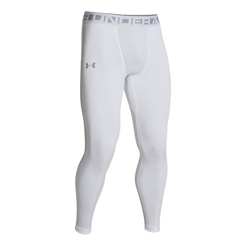 Mens Under Armour Evo ColdGear Compression Legging Fitted Tights - White/Steel S