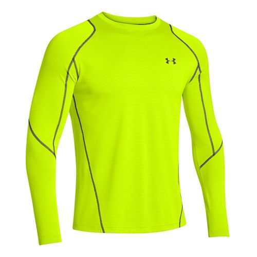 Mens Under Armour ColdGear Infrared Grid Crew Long Sleeve No Zip Technical Tops - Hi-Viz ...