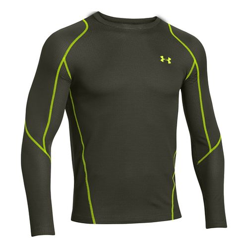 Mens Under Armour ColdGear Infrared Grid Crew Long Sleeve No Zip Technical Tops - Rifle ...