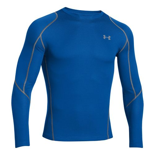 Mens Under Armour ColdGear Infrared Grid Crew Long Sleeve No Zip Technical Tops - Scatter/Steel ...
