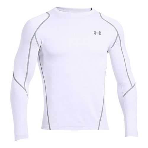Mens Under Armour ColdGear Infrared Grid Crew Long Sleeve No Zip Technical Tops - White/Steel ...