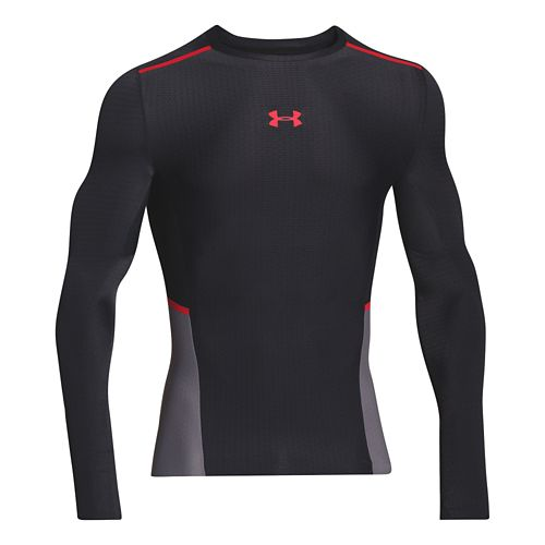 Mens Under Armour ClutchFit T Long Sleeve No Zip Technical Tops - Black/Risk Red S ...