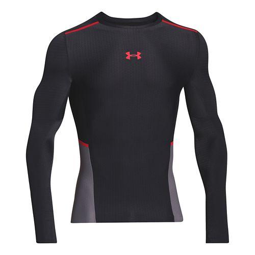 Mens Under Armour ClutchFit T Long Sleeve No Zip Technical Tops - Black/Risk Red XXL ...