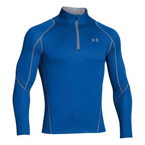Mens Under Armour ColdGear Infrared Grid Long Sleeve 1/2 Zip Technical Tops - Scatter/Steel S ...