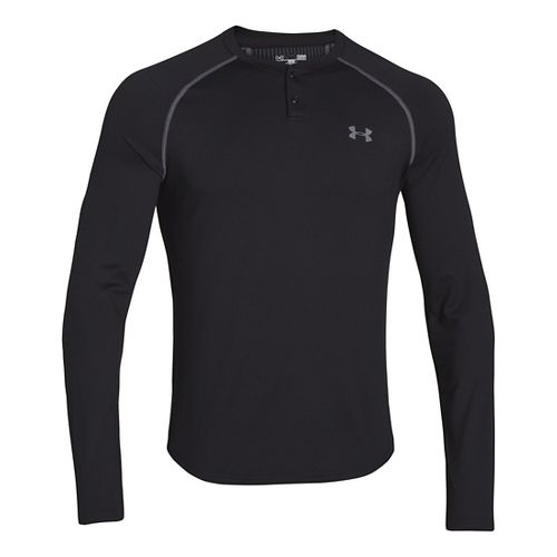 Mens Under Armour ColdGear Infrared Henley Long Sleeve No Zip Technical Tops - Black/Graphite S ...