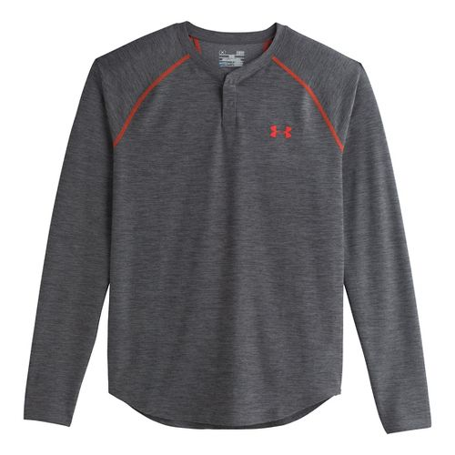 Mens Under Armour ColdGear Infrared Henley Long Sleeve No Zip Technical Tops - Carbon ...