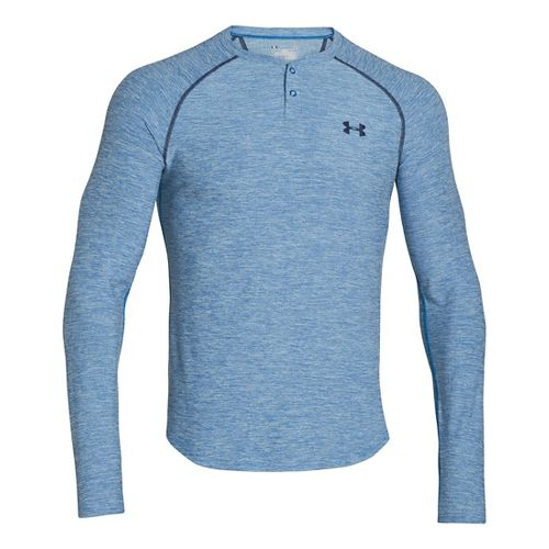 Mens Under Armour ColdGear Infrared Henley Long Sleeve No Zip Technical Tops - Key Blue/Academy ...