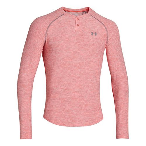 Mens Under Armour ColdGear Infrared Henley Long Sleeve No Zip Technical Tops - Risk Red/Carbon ...