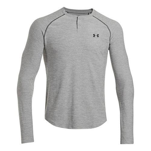 Mens Under Armour ColdGear Infrared Henley Long Sleeve No Zip Technical Tops - True Grey ...