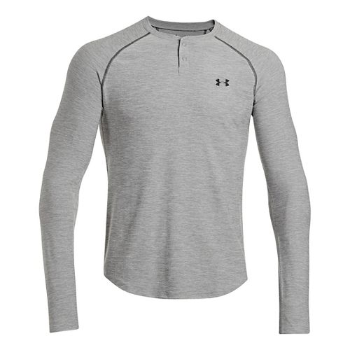 Mens Under Armour ColdGear Infrared Henley Long Sleeve No Zip Technical Tops - True Grey ...