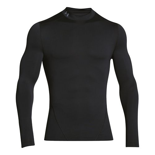 Mens Under Armour Evo ColdGear Compression Mock Long Sleeve No Zip Technical Tops - Black ...