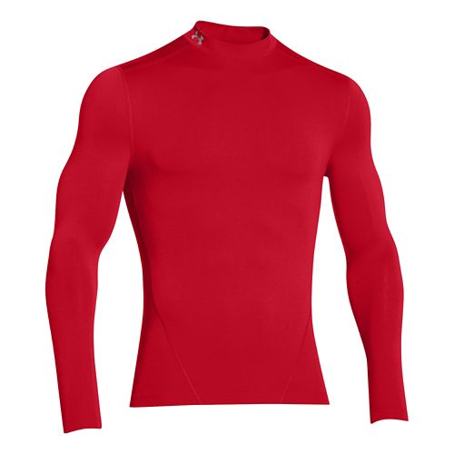 Mens Under Armour Evo ColdGear Compression Mock Long Sleeve No Zip Technical Tops - Red ...