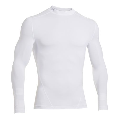 Mens Under Armour Evo ColdGear Compression Mock Long Sleeve No Zip Technical Tops - White ...