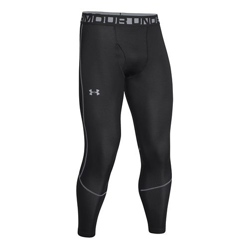 Mens Under Armour ColdGear Infrared Grid Legging Fitted Tights - Black/Steel S