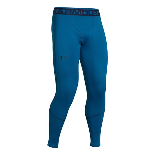 Mens Under Armour ColdGear Infrared Grid Legging Fitted Tights - Key Blue/Academy S