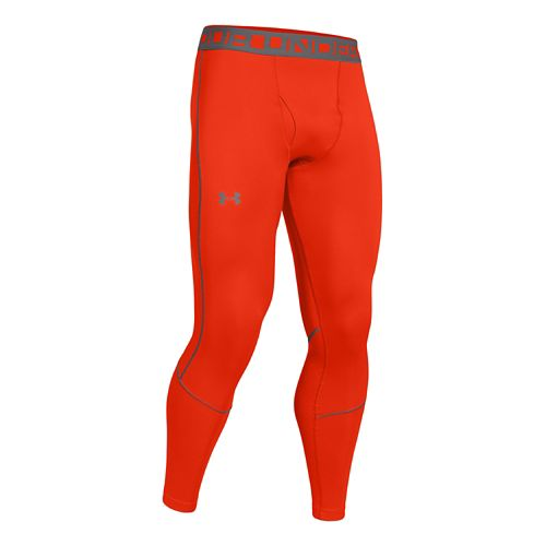 Mens Under Armour ColdGear Infrared Grid Legging Fitted Tights - Volcano/Graphite XXL