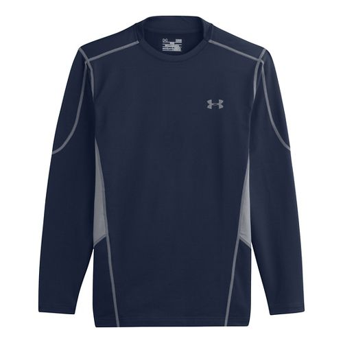 Mens Under Armour Evo ColdGear Fitted Hybrid Long Sleeve No Zip Technical Tops - Academy/Steel ...