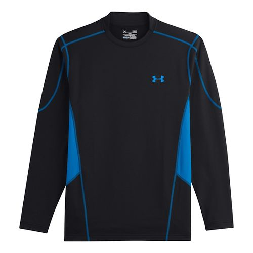 Mens Under Armour Evo ColdGear Fitted Hybrid Long Sleeve No Zip Technical Tops - Black/Electric ...
