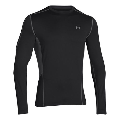 Mens Under Armour Evo ColdGear Fitted Hybrid Long Sleeve No Zip Technical Tops - Black/Graphite ...
