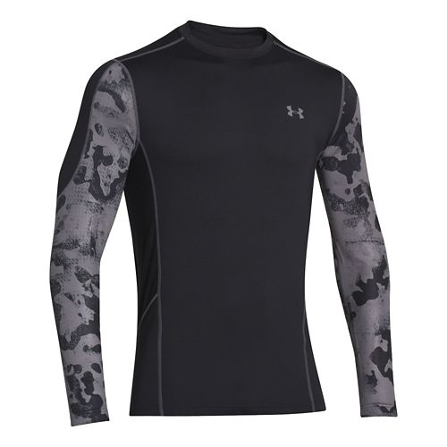 Mens Under Armour Evo ColdGear Fitted Hybrid Long Sleeve No Zip Technical Tops - Black/Print ...