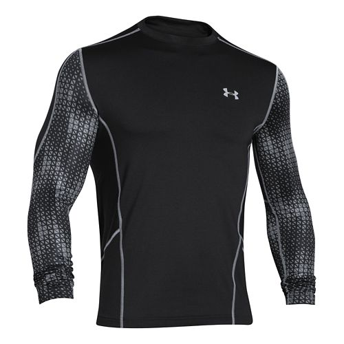 Mens Under Armour Evo ColdGear Fitted Hybrid Long Sleeve No Zip Technical Tops - Black/Steel ...