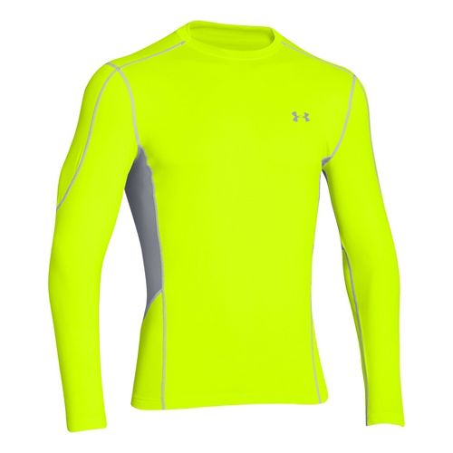 Mens Under Armour Evo ColdGear Fitted Hybrid Long Sleeve No Zip Technical Tops - Hi-Viz ...