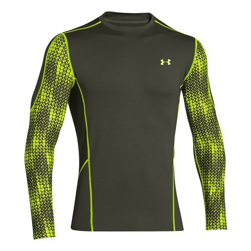 Mens Under Armour Evo ColdGear Fitted Hybrid Long Sleeve No Zip Technical Tops - Rifle ...