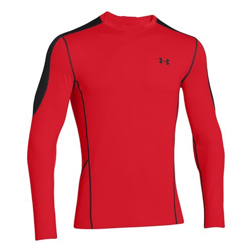 Mens Under Armour Evo ColdGear Fitted Hybrid Long Sleeve No Zip Technical Tops - Risk ...