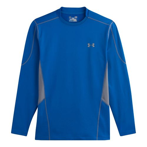 Mens Under Armour Evo ColdGear Fitted Hybrid Long Sleeve No Zip Technical Tops - Scatter/Steel ...