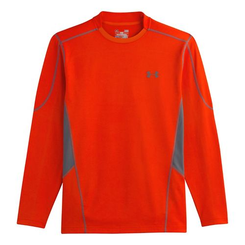 Mens Under Armour Evo ColdGear Fitted Hybrid Long Sleeve No Zip Technical Tops - ...