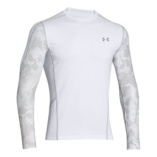 Mens Under Armour Evo ColdGear Fitted Hybrid Long Sleeve No Zip Technical Tops - White/Print ...