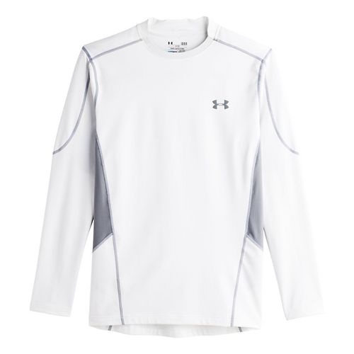 Mens Under Armour Evo ColdGear Fitted Hybrid Long Sleeve No Zip Technical Tops - White/Steel ...
