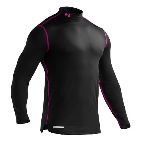 Mens Under Armour EVO ColdGear Fitted Mock Long Sleeve No Zip Technical Tops - Black/Tropic ...