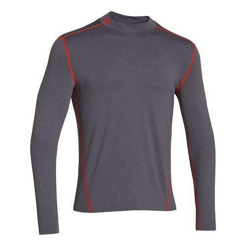 Mens Under Armour EVO ColdGear Fitted Mock Long Sleeve No Zip Technical Tops - Carbon ...