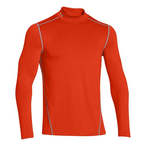 Mens Under Armour EVO ColdGear Fitted Mock Long Sleeve No Zip Technical Tops - Dark ...