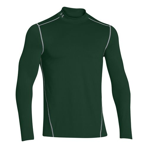Mens Under Armour EVO ColdGear Fitted Mock Long Sleeve No Zip Technical Tops - Forest ...